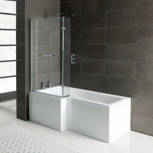 Matrix L-Shape 1600mm Shower Bath, Front Panel & Screen - Left Hand